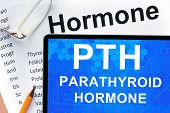 foto of hormone  - Papers with hormones list and tablet  with words parathyroid hormone  - JPG