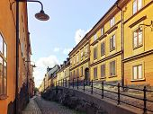 picture of cobblestone  - Picturesque cobblestone street with old buildings in Sodermalm Stockholm.