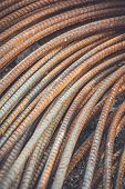 picture of reinforcing  - Macro steel rods or bars used to reinforce concrete
