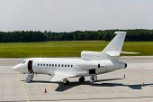 image of jet  - private airplane jet ready for boarding on airport - JPG