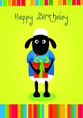 stock photo of baby sheep  - Cute baby birthday card with funny sheep - JPG