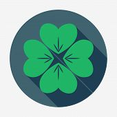 foto of four leaf clover  - Flat style icon with long shadow - JPG
