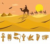 stock photo of ankh  - Beautiful landscape of ancient Egypt on a background of the rising sun - JPG