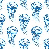 stock photo of jellyfish  - Seamless pattern of blue outline jellyfishes with long wavy tentacles on white background suitable for textile or tile design - JPG