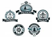 pic of anchor  - Nautical retro labels and badges in traditional blue colors depicting ship - JPG