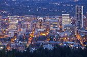 picture of portland oregon  - Downtown Portland Oregon city lights blue hour. ** Note: Soft Focus at 100%, best at smaller sizes - JPG