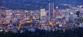 image of portland oregon  - Downtown Portland Oregon city lights blue hour panorama - JPG