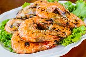 image of shrimp  - Grilled Shrimp in a plate on the wood table - JPG