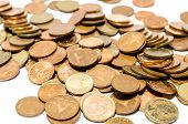 stock photo of copper coins  - Collection of golden coins that look valuable - JPG