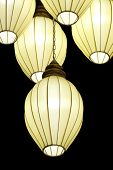 pic of lamp shade  - White lamps hanging from the ceiling black. ** Note: Soft Focus at 100%, best at smaller sizes - JPG