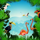 stock photo of tropical plants  - Tropical forest background with exotic plants and wild birds vector illustration - JPG