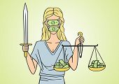 stock photo of outrageous  - Corrupt Themis does not fight for fairness and justice - JPG