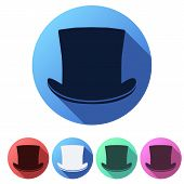 picture of cylinder  - Set Flat icons of black gentleman hat cylinder - JPG