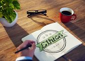 picture of ethics  - Businessman Writing the Word  - JPG