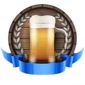 pic of keg  - Label Beer barrel keg with beer glass and ribbon - JPG