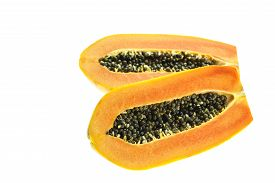 picture of groping  - Close up Thai papaya isolated on white background - JPG