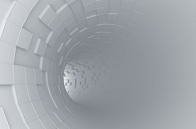 stock photo of sci-fi  - Abstract 3d rendering of futuristic tunnel - JPG