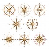 picture of wind instrument  - 8 wind rose icons in vintage style  - JPG