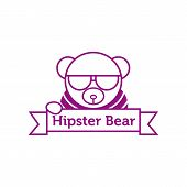 Vector hipster bear in sunglasses outline logotype poster