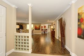 picture of entryway  - Modern open entryway with hardwood floor and warm colored decor - JPG