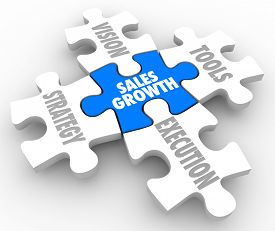 stock photo of objectives  - Sales Growth puzzle pieces with Vision - JPG