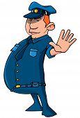 Cartoon Policeman Holding Up His Hand