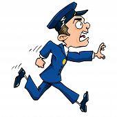 Cartoon Policeman Running