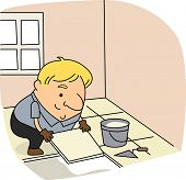 Illustration of a Tile Setter at Work