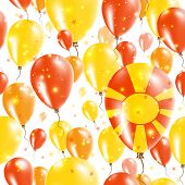 Постер, плакат: Macedonia Independence Day Seamless Pattern Flying Rubber Balloons In Colors Of The Macedonian Flag