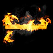 Burning And Flame Font Hyphen Symbol