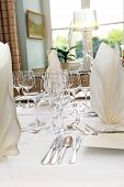 Elegant Table Decoration In The Restaurant - Vertical