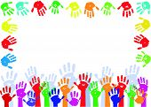 Color hands palms background
