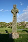 Celtic Cross Near Iona Abbey Scotland