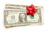 Dollar with holidays bow