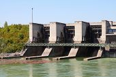 pic of hydro-electric  - Hydro electric dam power plant on Traun river in Marchtrenk Austria - JPG