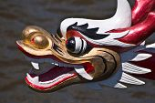 foto of dragon head  - White and golden dragon head on a dragonboat