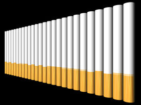 picture of marlboro  - A row of cigarettes against a black background - JPG