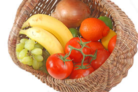 image of tangelo  - Old fashioned wicker basket filled with fresh fruits and vegetables  - JPG