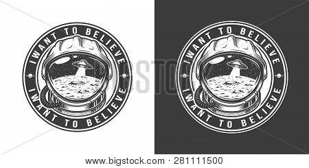 Vintage Monochrome Space Round Label
