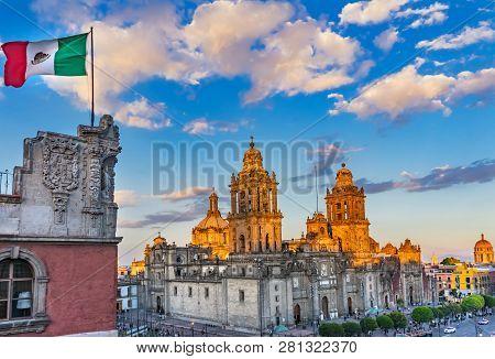 Mexican Flag Metropolitan Cathedral Zocalo