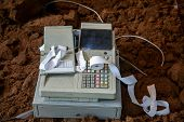 Old Cash Register With Buttons And Display. Cash Register Tape On Old Cash Register. Cash Register O poster