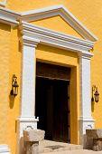 church door of Xcaret in yucatan, mexico