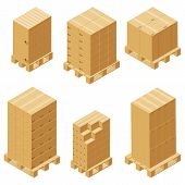 Cardboard Boxes And Wood Pallet Isometric Set Isolated On White Background. Vector Carton Packaging  poster