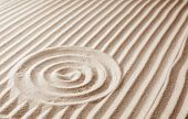 Zen Garden Pattern On Sand. Meditation And Harmony poster