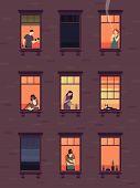 Windows With Neighbors. Residential Exterior Window, Neighborhood People Talking Building Group Fun  poster