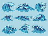 Hand Drawn Ocean Waves. Sketch Sea Tidal Blue Waves Tide Splash Hand Drawn Surfing Storm Wavy Water  poster