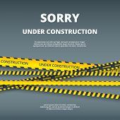 Under Construction Page. Web Site Design Template With Attention Danger Stripes Security Type Vector poster