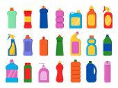 Chemical Clean Bottles. Detergent Sanitary Laundry Cleaner Service Containers Antiseptic Vector Flat poster