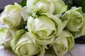 Wedding Bouquet Of White Flowers On A Light Background. Wedding Flowers In Nature. Candles. Wedding  poster