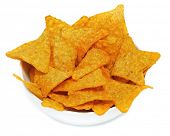 stock photo of nachos  - a bowl with nachos on a white background - JPG